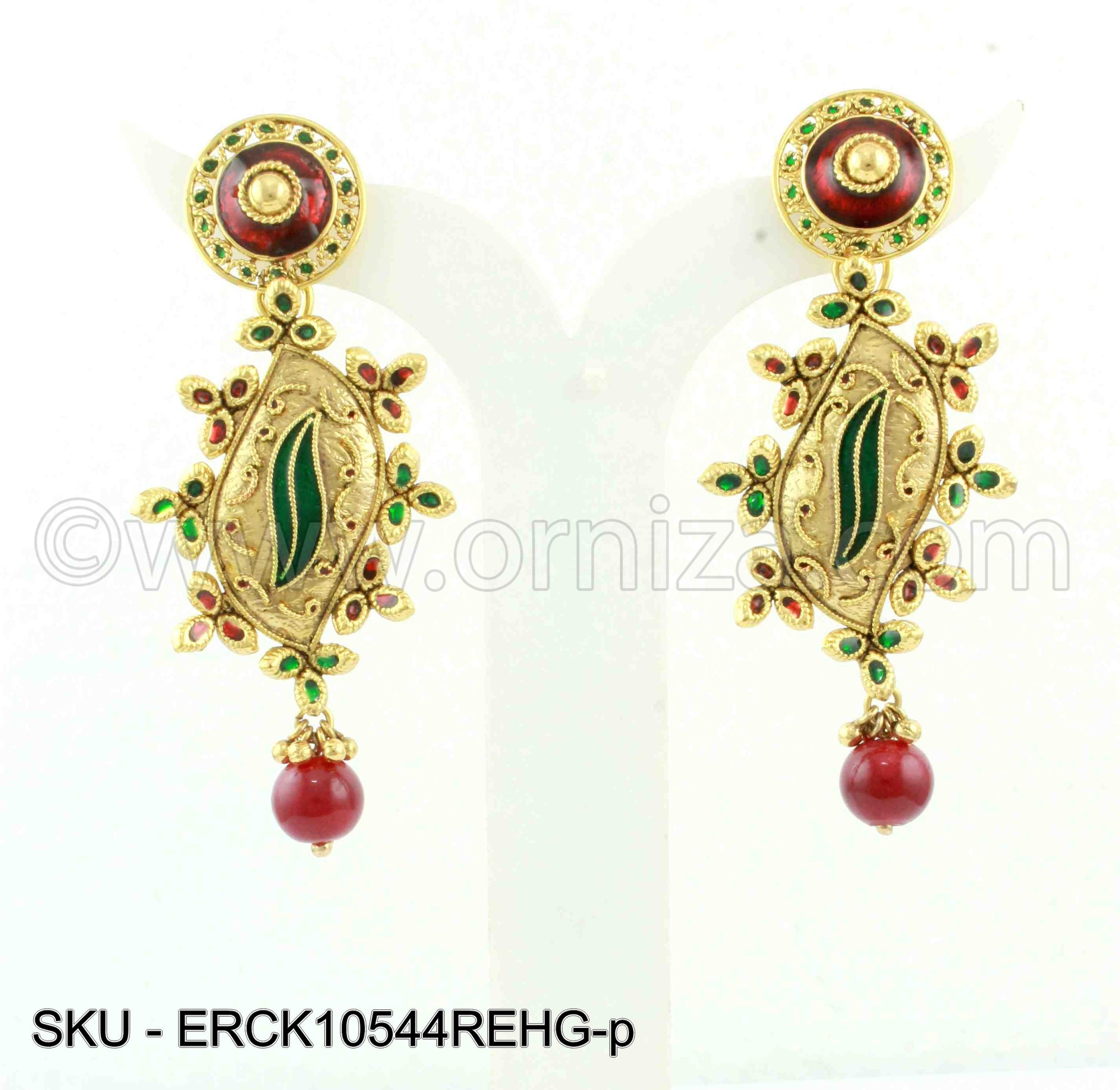 Red Green Polki Stones Earrings
