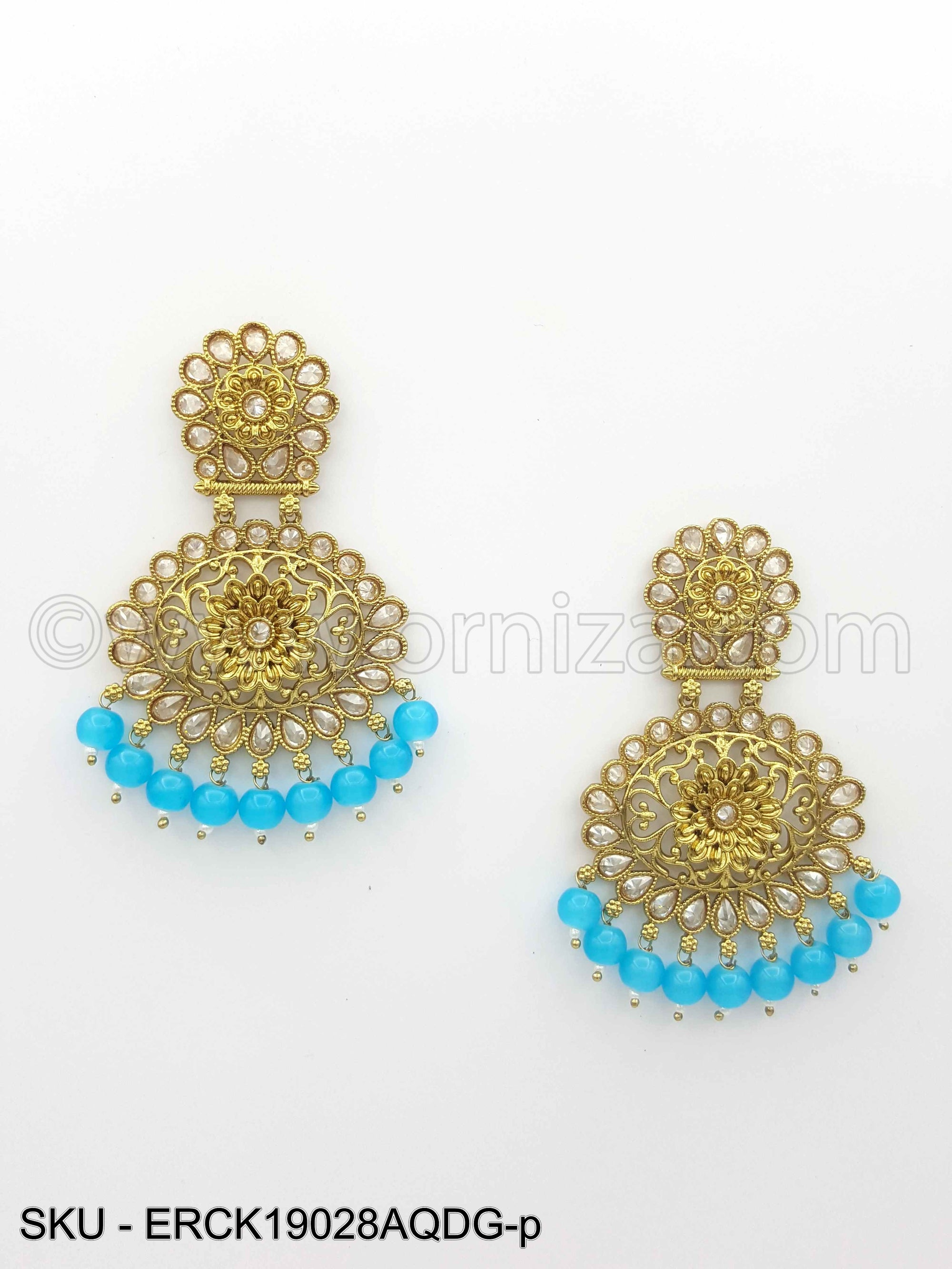 Aqua Blue Antique Polki Earrings