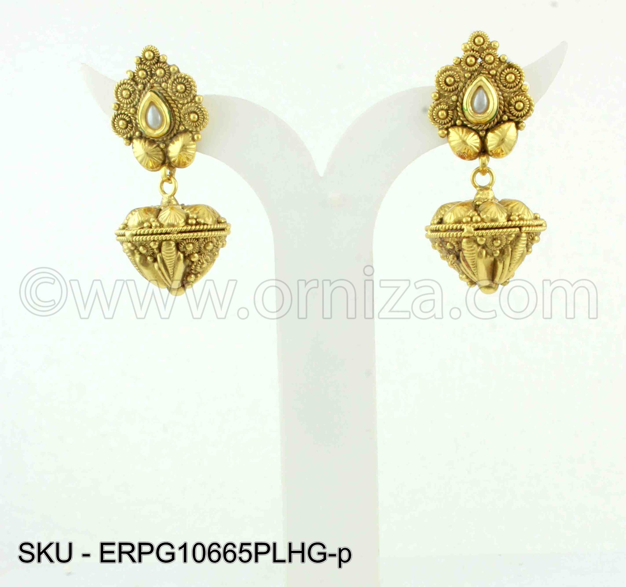 Pearl White Golden Earrings