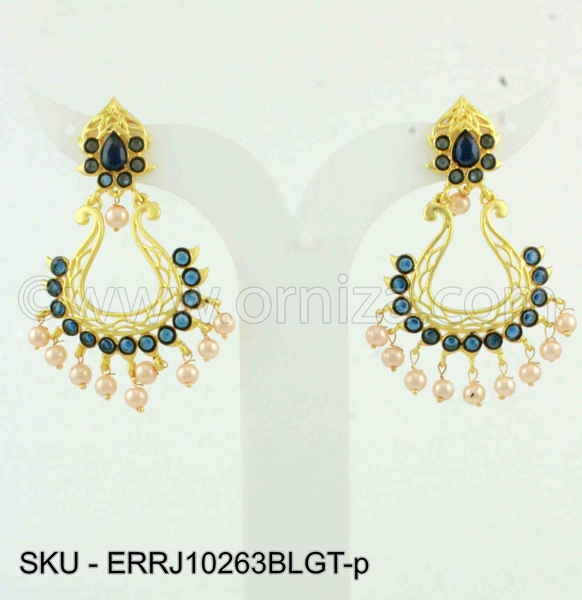 Blue Traditional Rajwadi Earrings