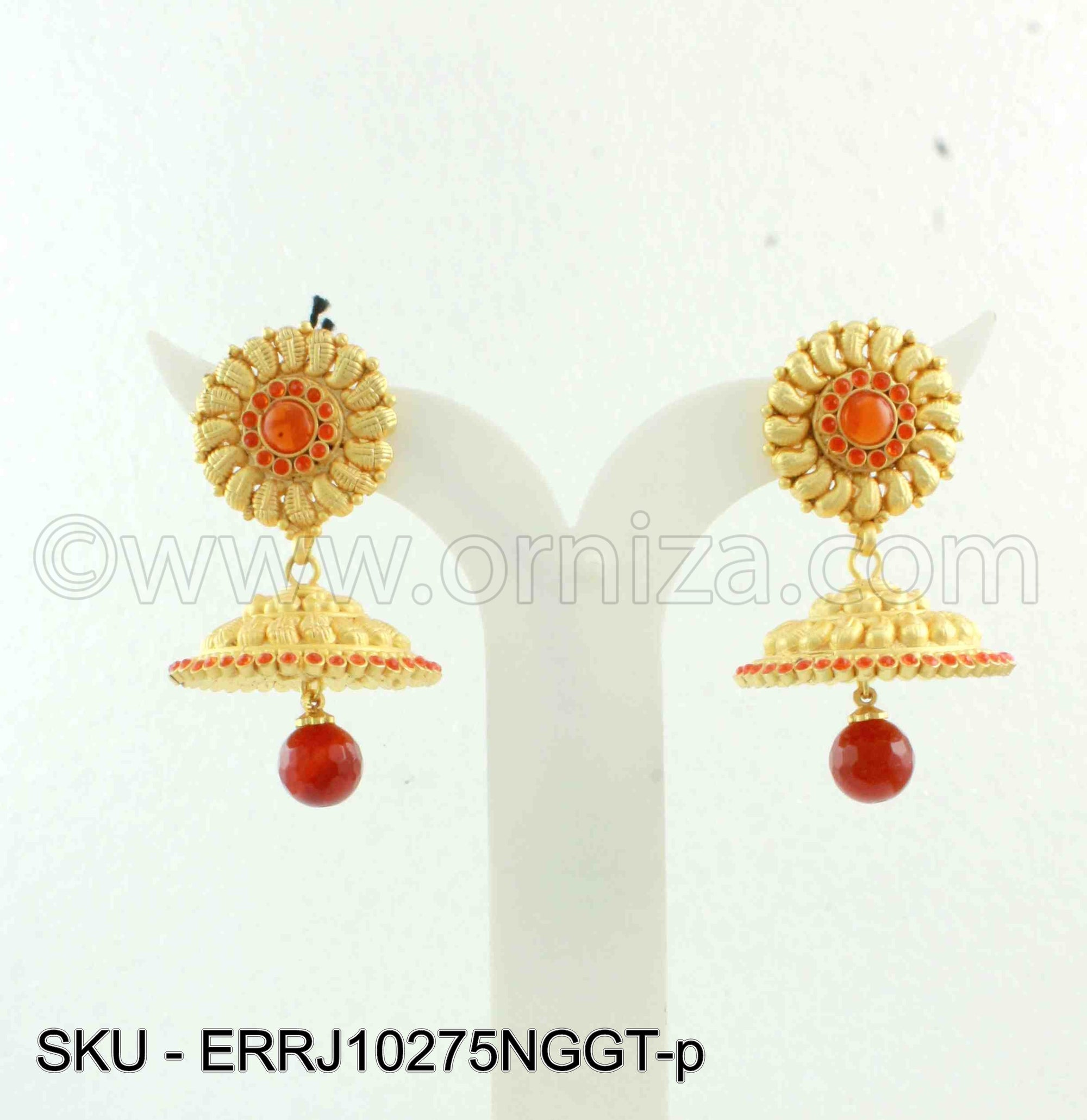 Orange Traditional Rajwadi Earrings