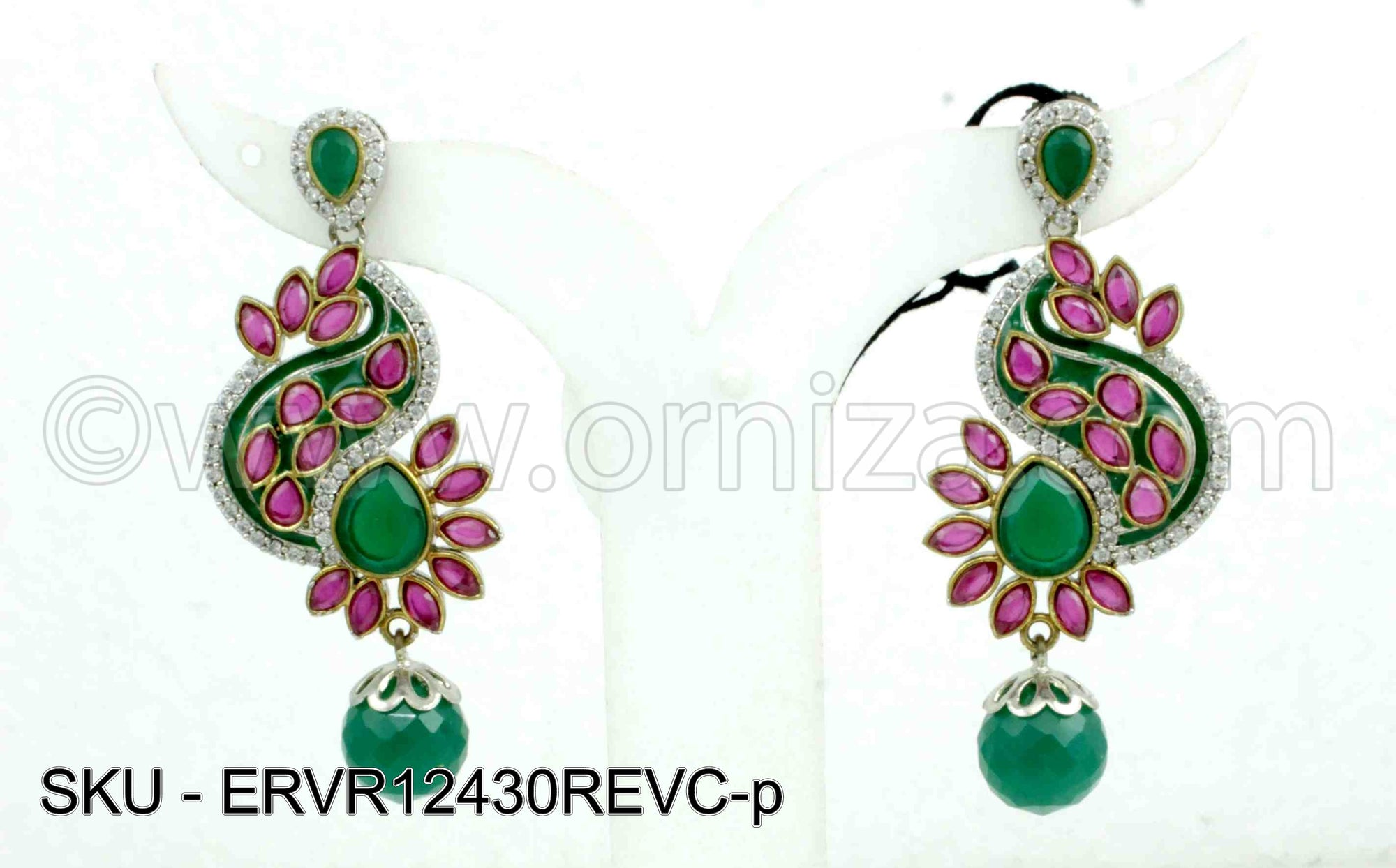 Red Green Victorian Earrings