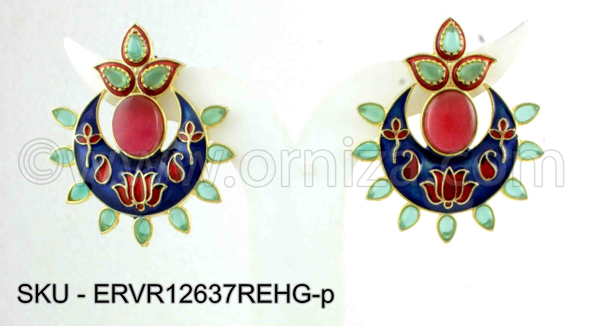 Red Green Antique Victorian Earrings