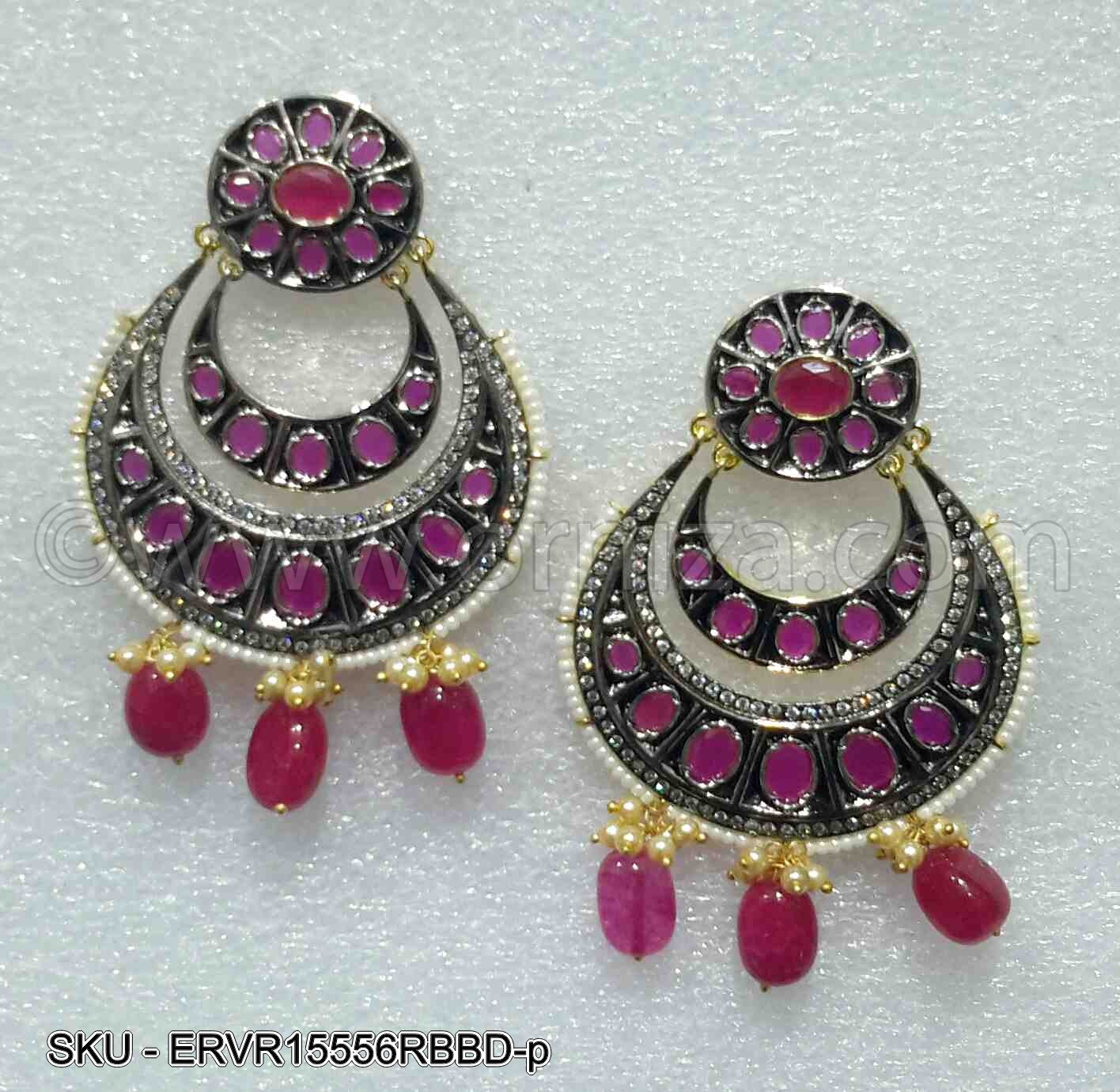 Ruby Red Victorian Earrings