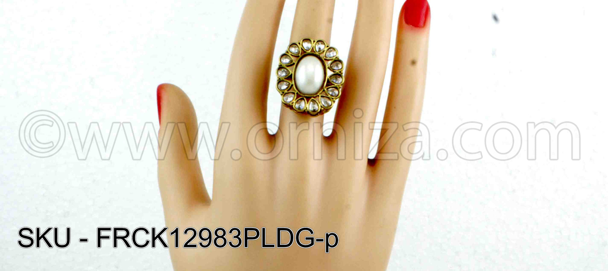 Pearl White Antique Polki Finger Ring