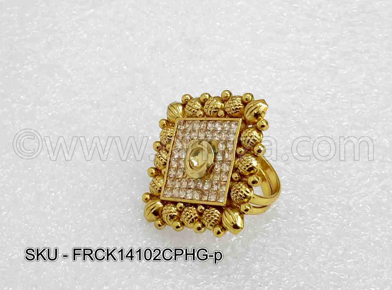 Golden Beige Polki Stones Finger Ring