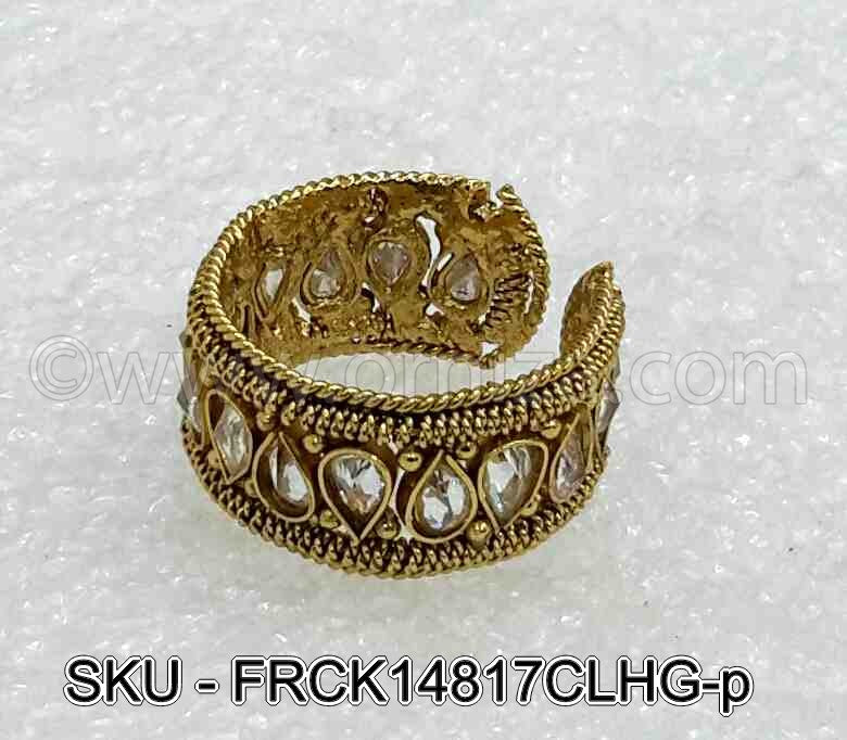 White Antique Polki Finger Ring