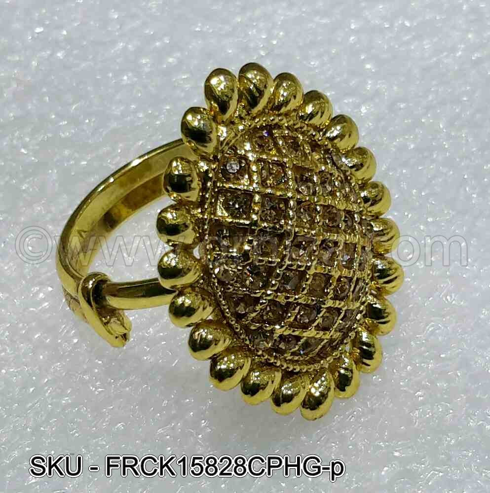 Golden Beige Antique Polki Finger Ring
