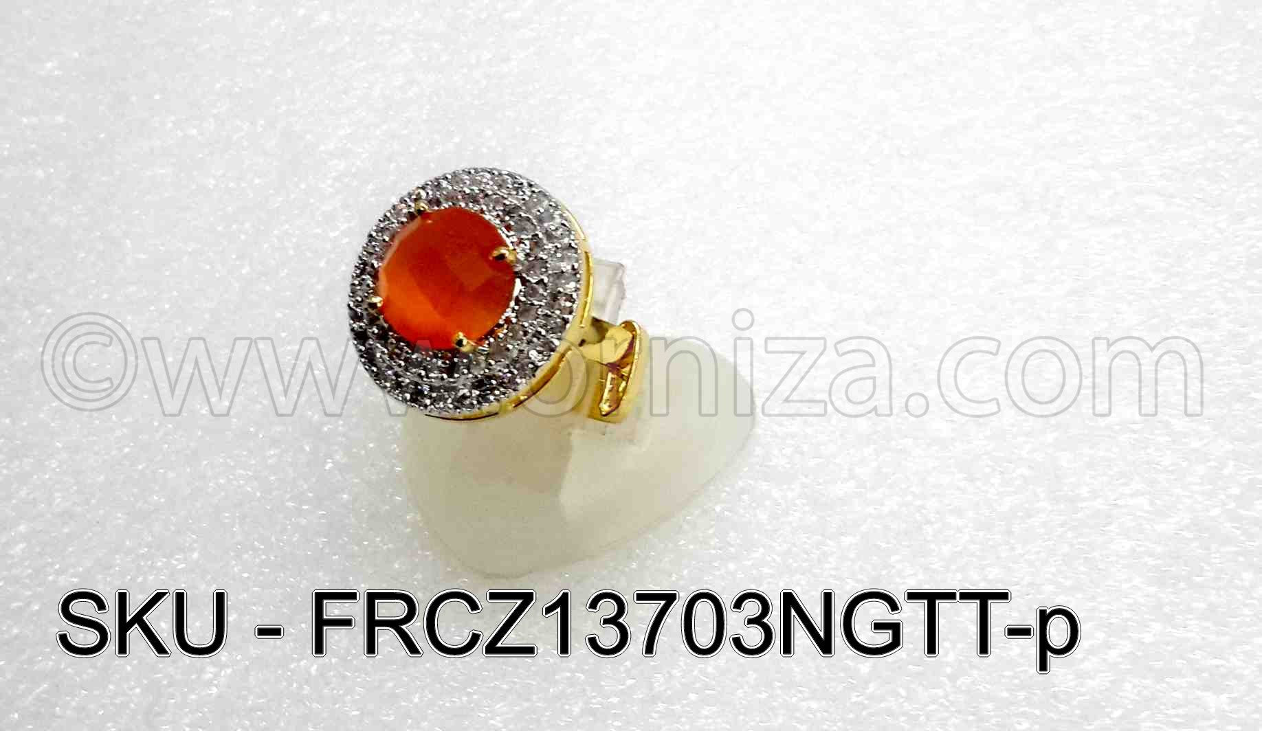 Orange CZ AD American Diamond Finger Ring