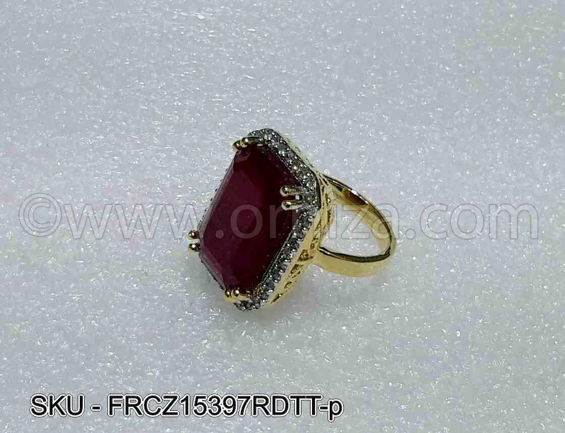 Red CZ AD American Diamond Finger Ring