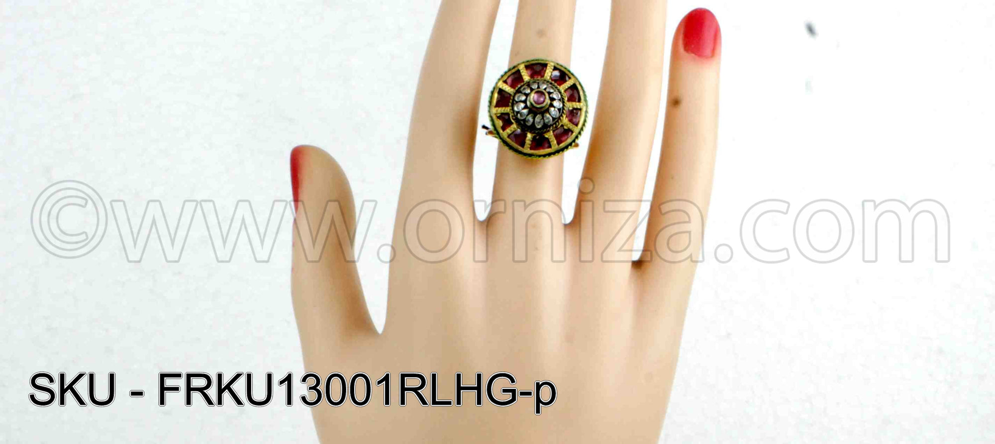 Red Jadau Kundan Finger Ring