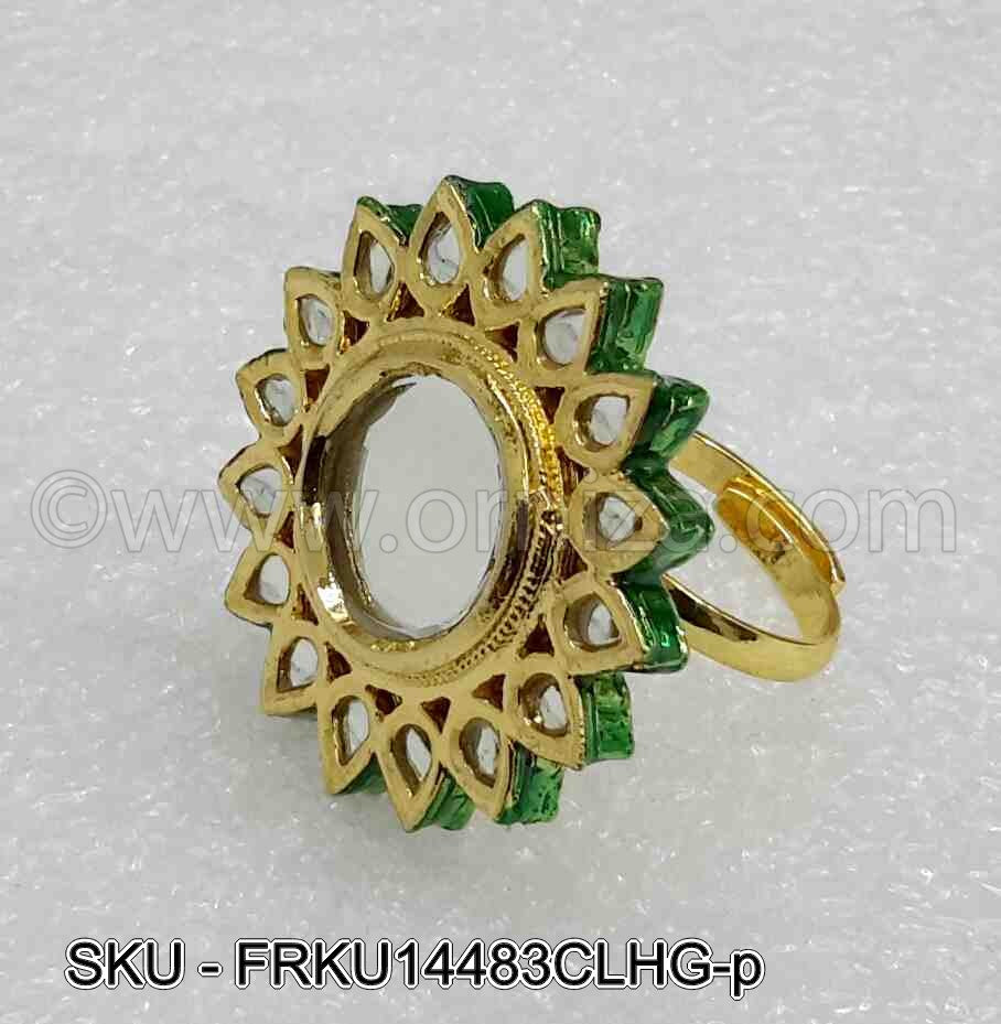 White Jadau Kundan Finger Ring