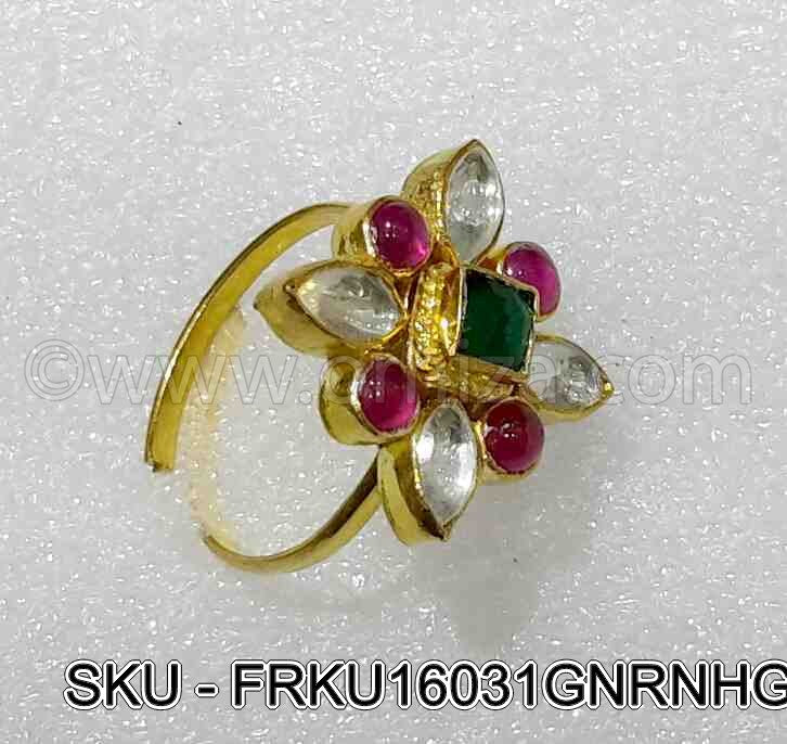 Green Jadau Kundan Finger Ring