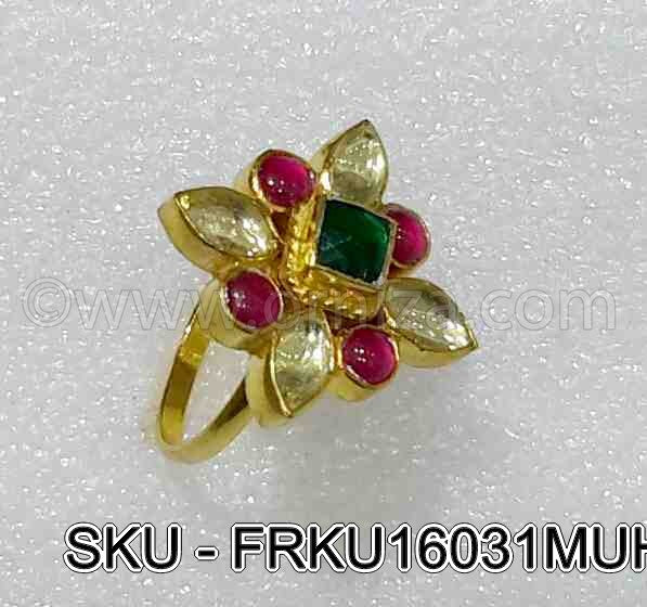 Multi Colour Jadau Kundan Finger Ring