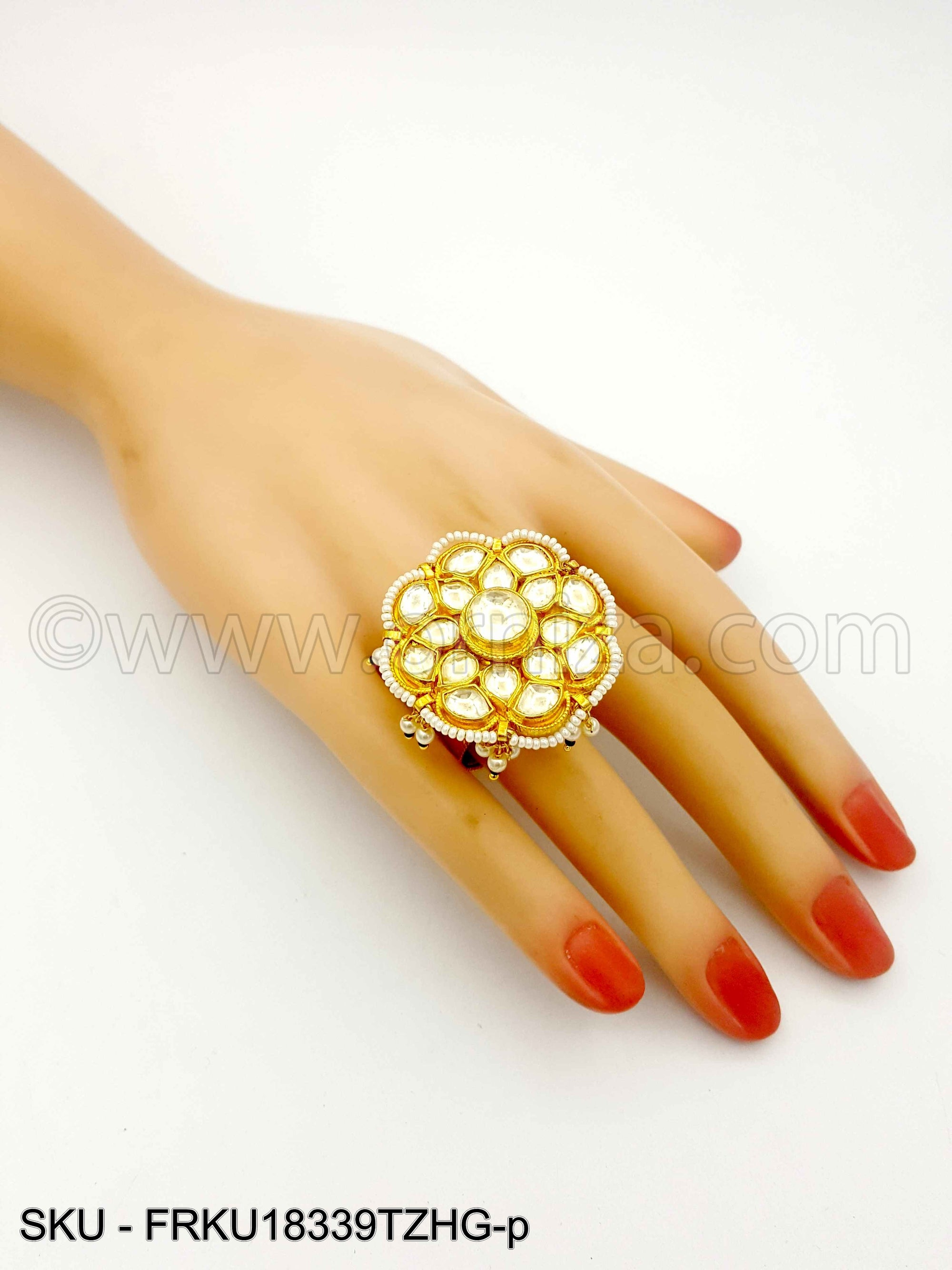 Golden Topaz Jadau Kundan Finger Ring