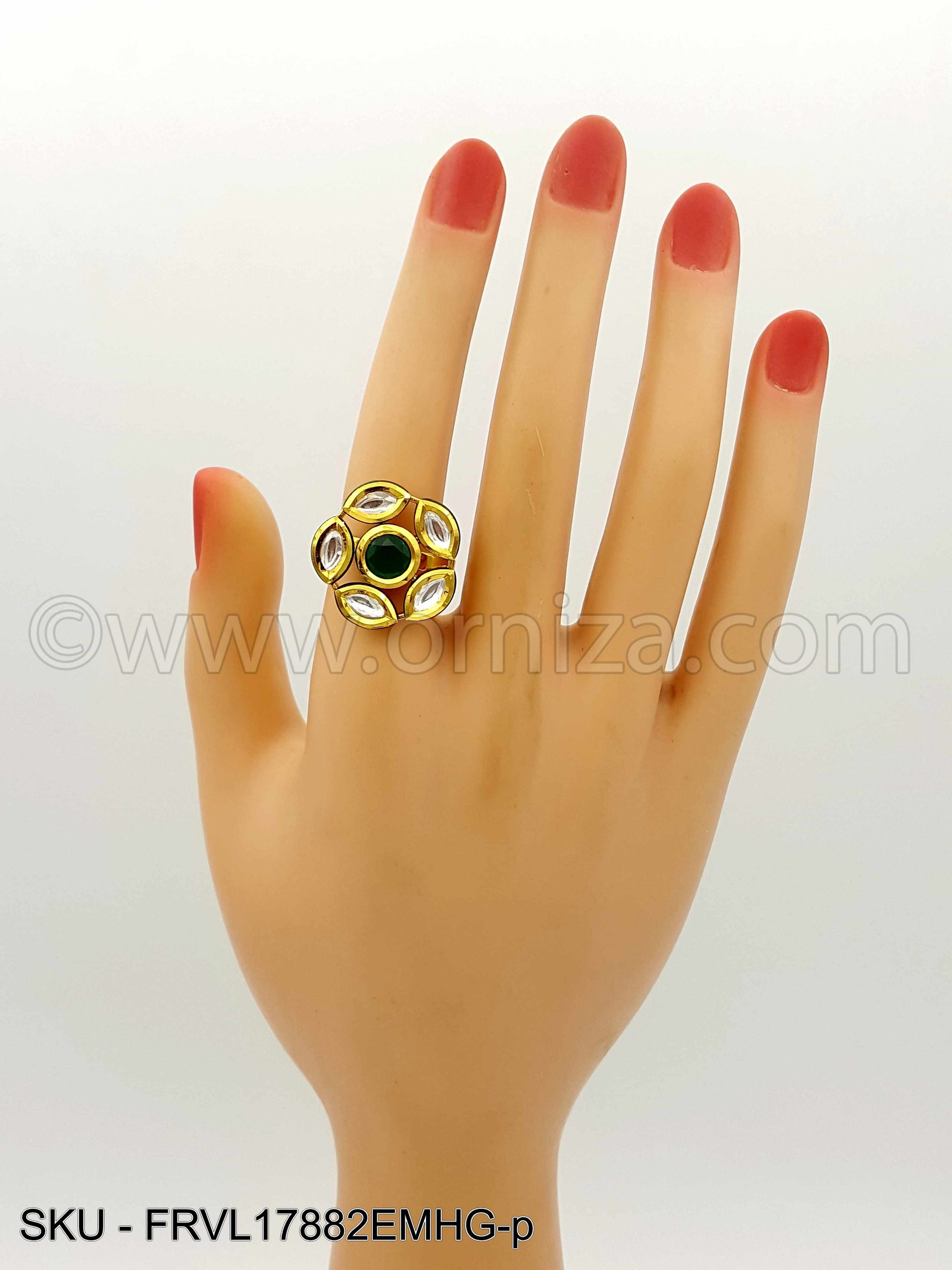 Emerald Green Vilandi Kundan Finger Ring