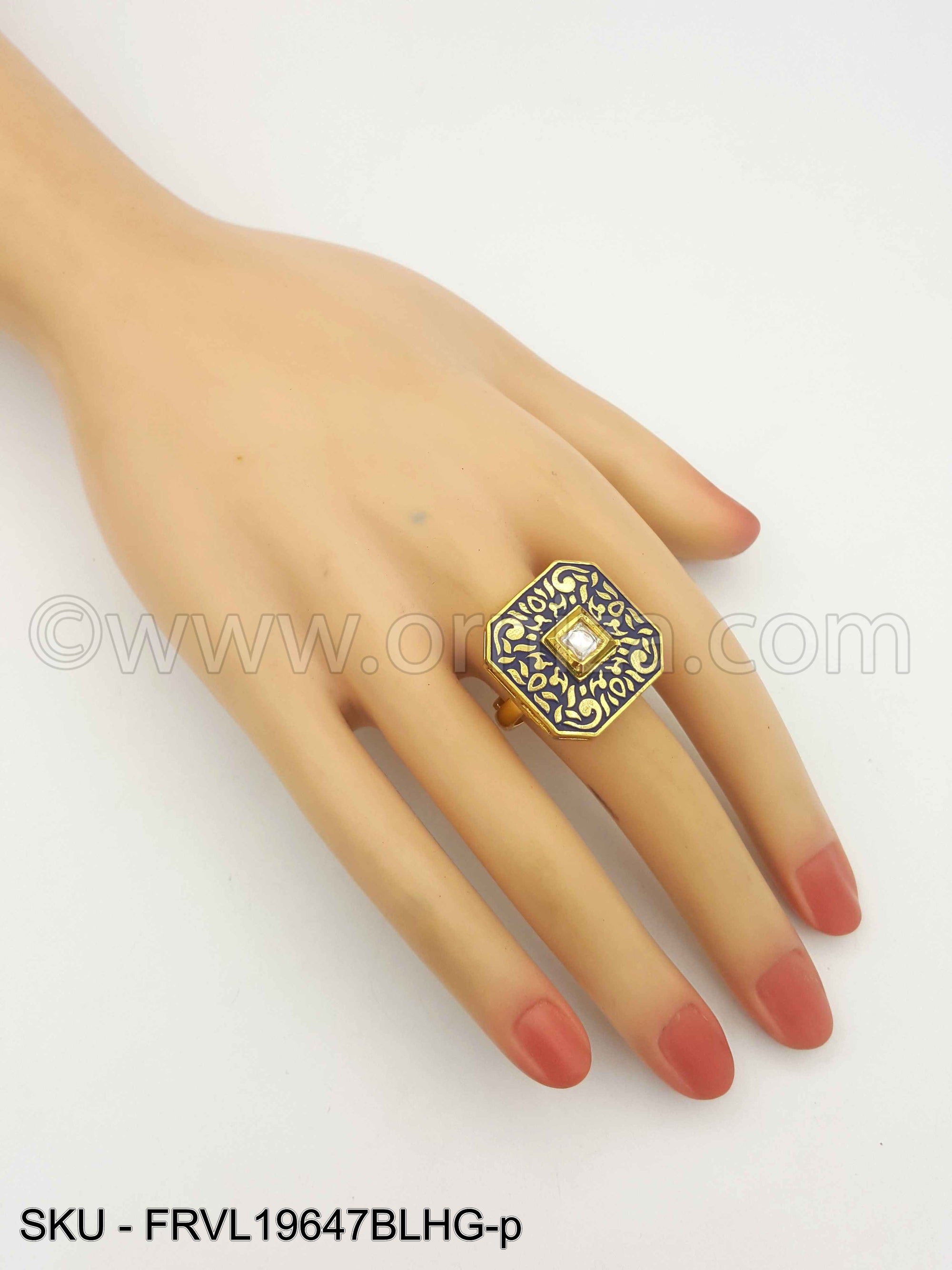Blue Vilandi Kundan Finger Ring