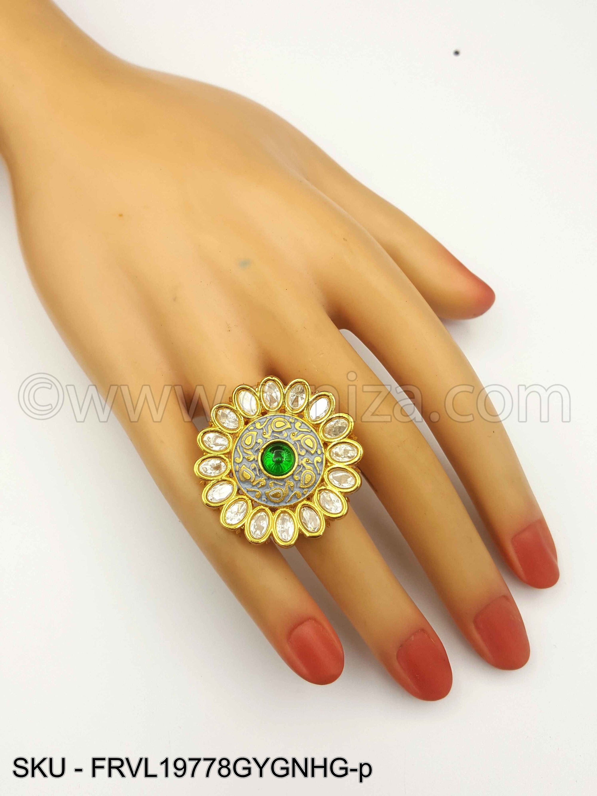 Grey Vilandi Kundan Finger Ring