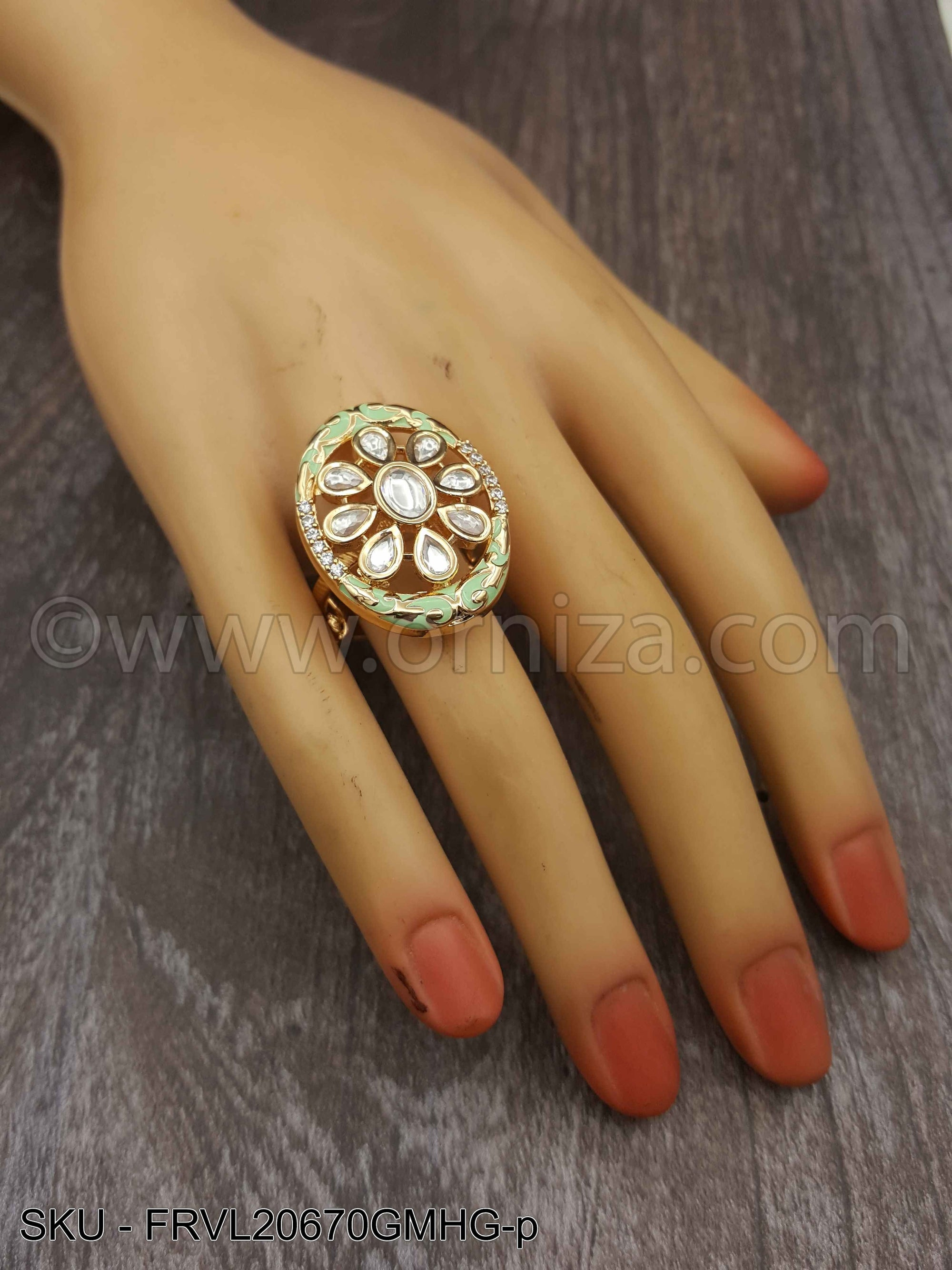 Mint Green Vilandi Kundan Finger Ring