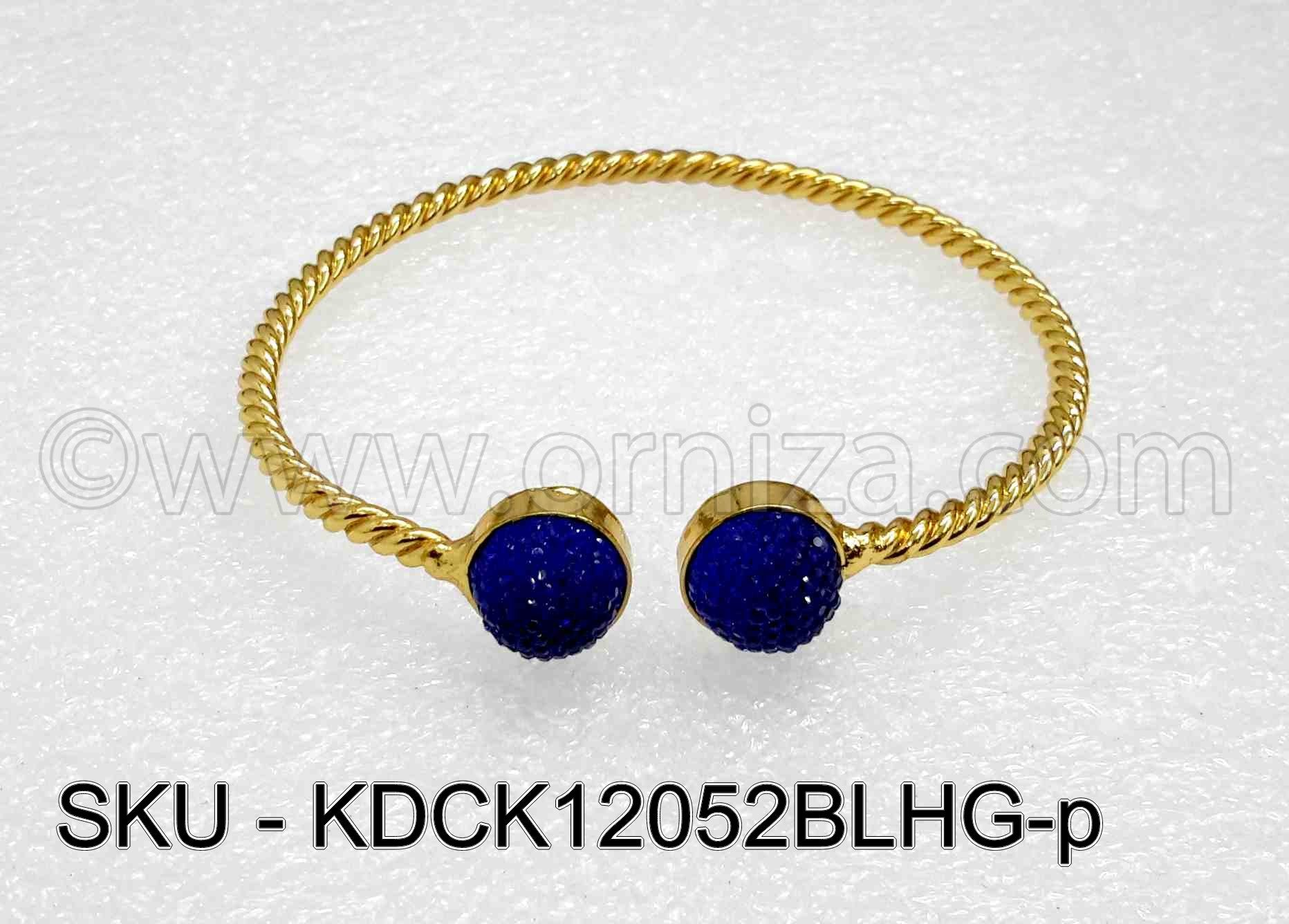 Blue Antique Polki Kada