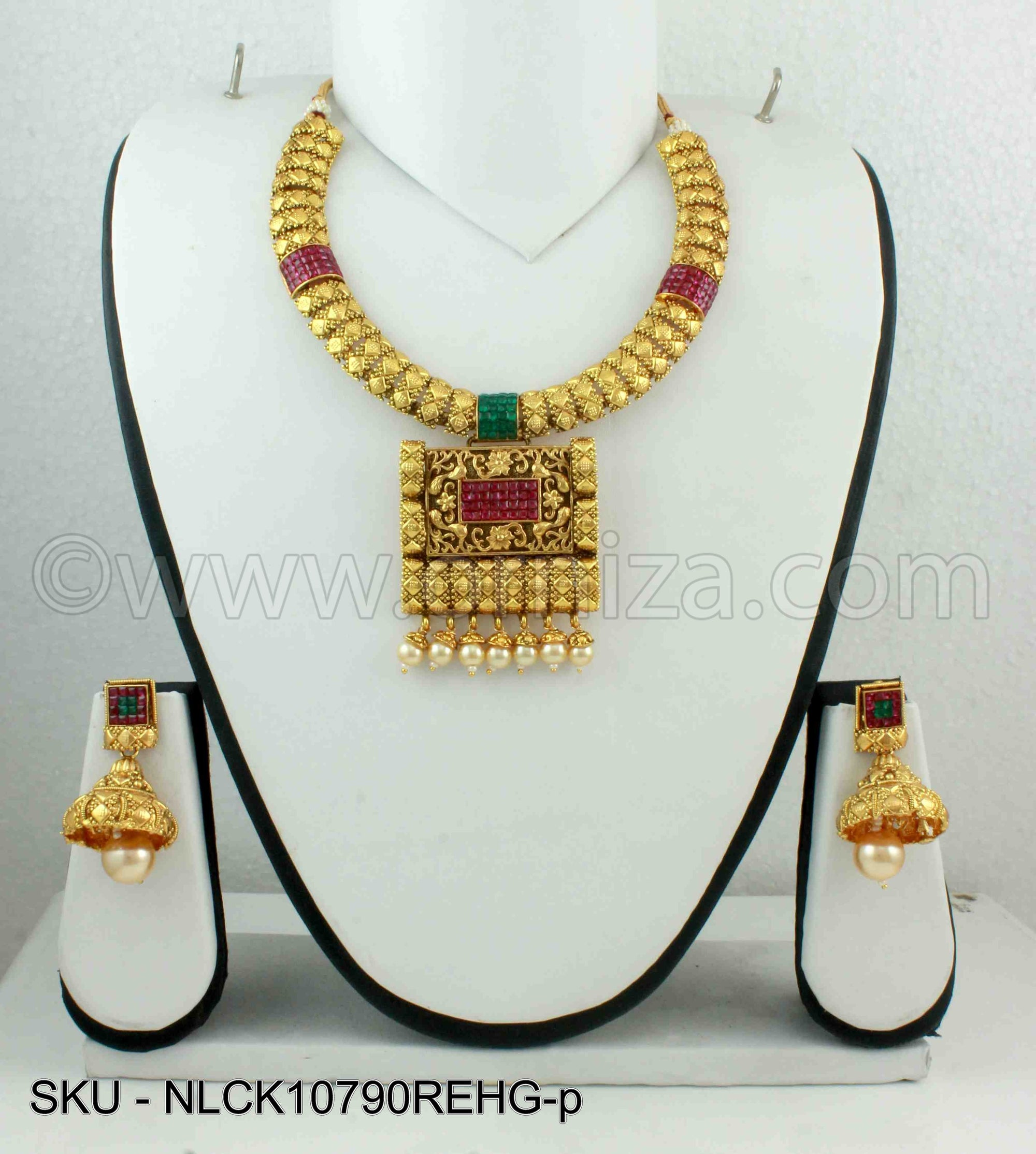 Red Green Antique Polki Necklace Set