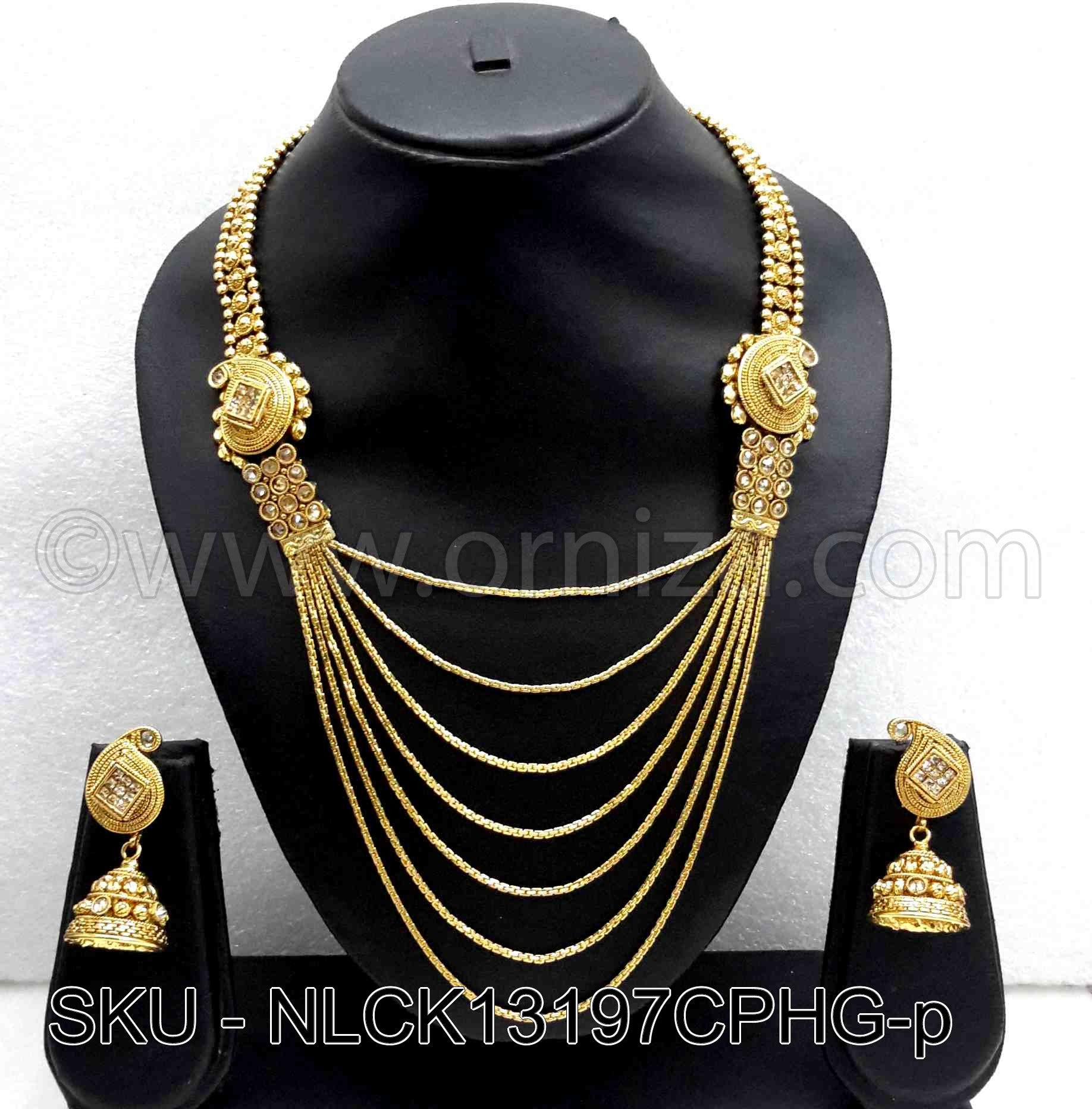 Golden Beige Polki Stones Necklace Set