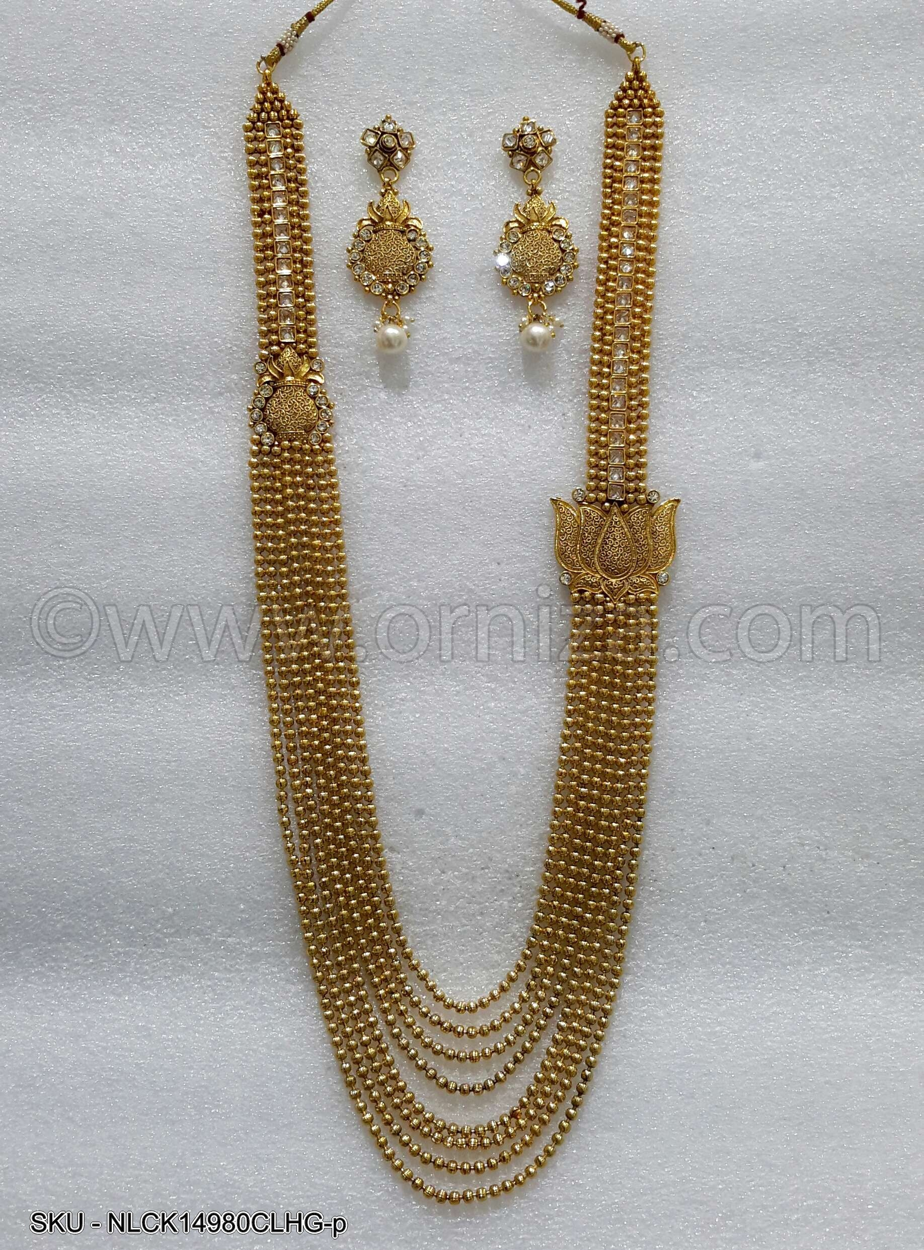 White Antique Polki Necklace Set