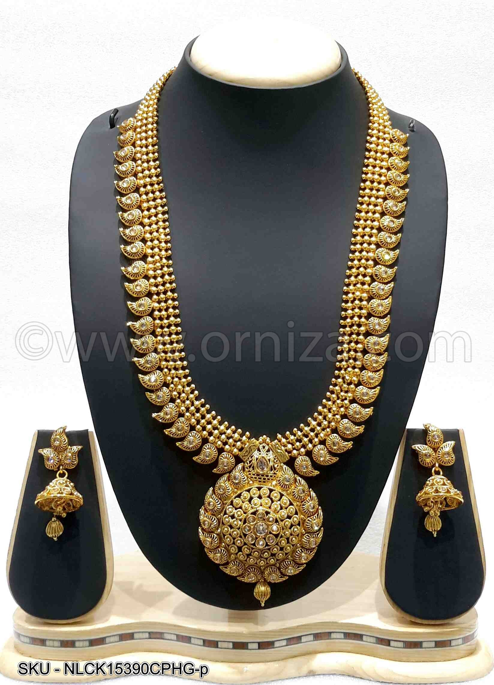 Golden Beige Antique Polki Necklace Set