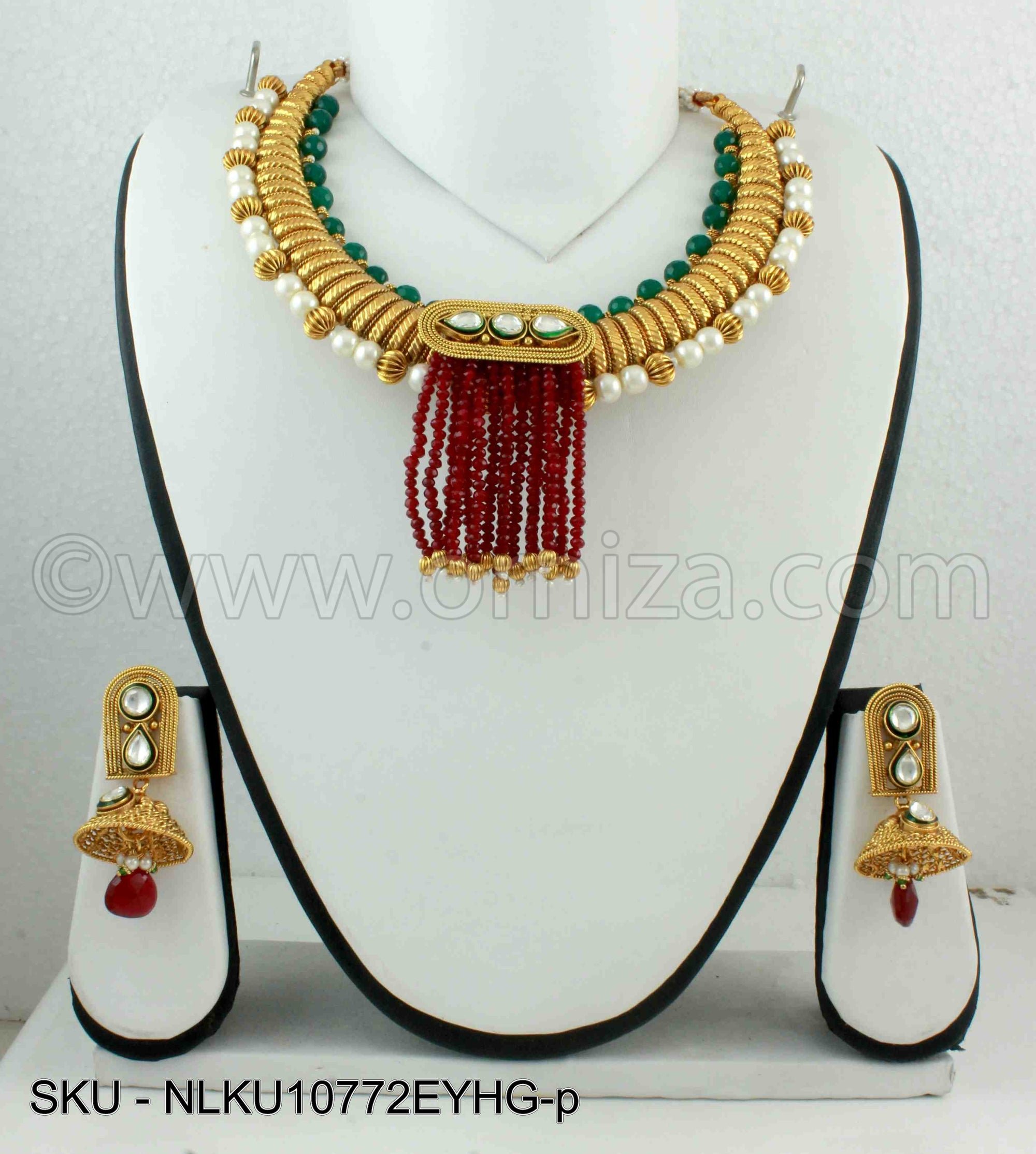 Red Green Jadau Kundan Necklace Set