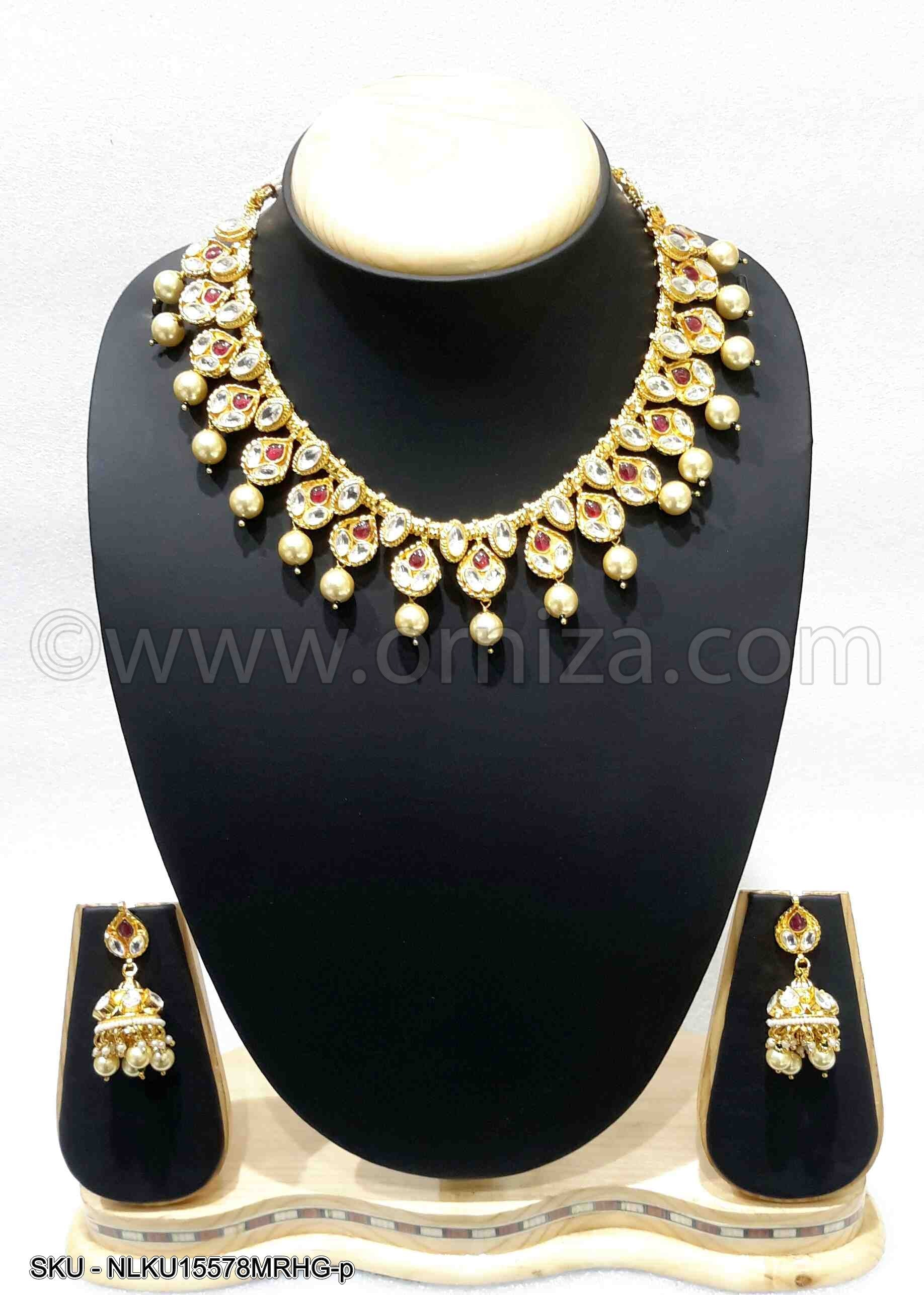 Maroon Red Jadau Kundan Necklace Set