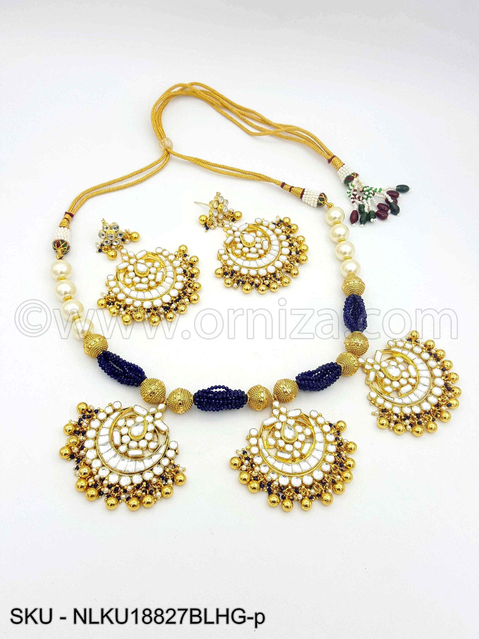 Blue Jadau Kundan Necklace Set