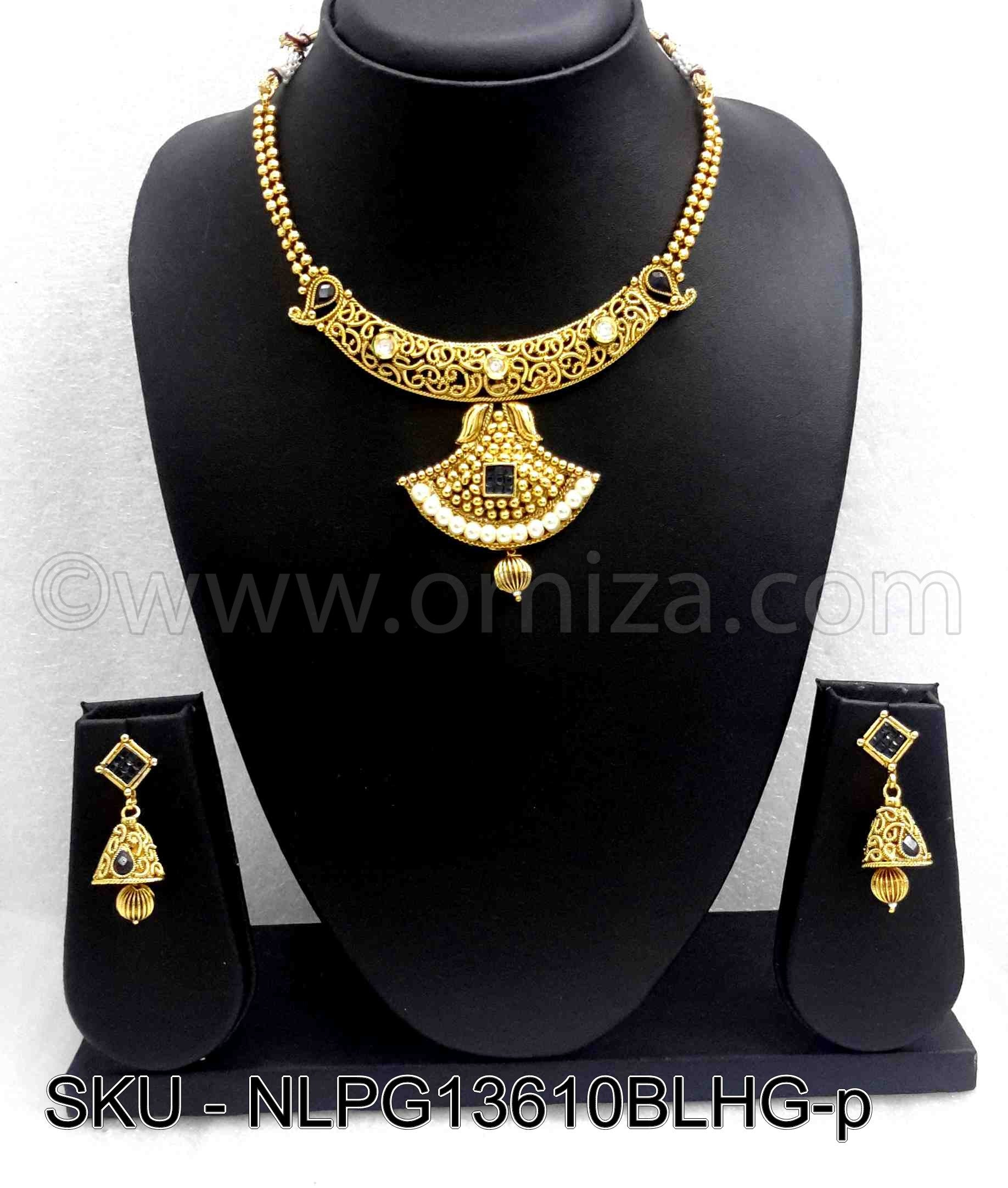 Blue Golden Necklace Set