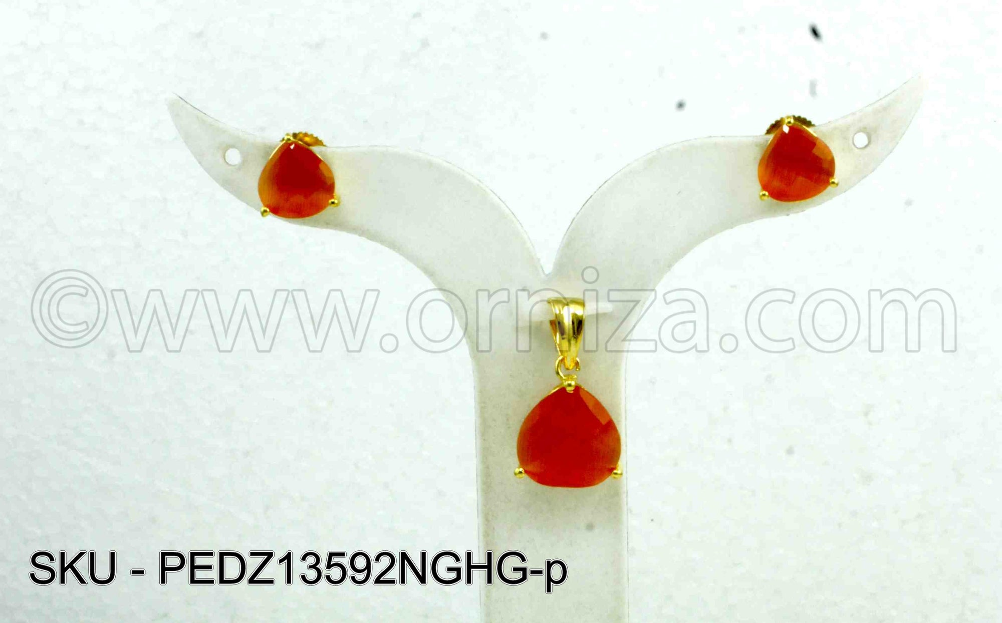 Orange Designer Pendant Set