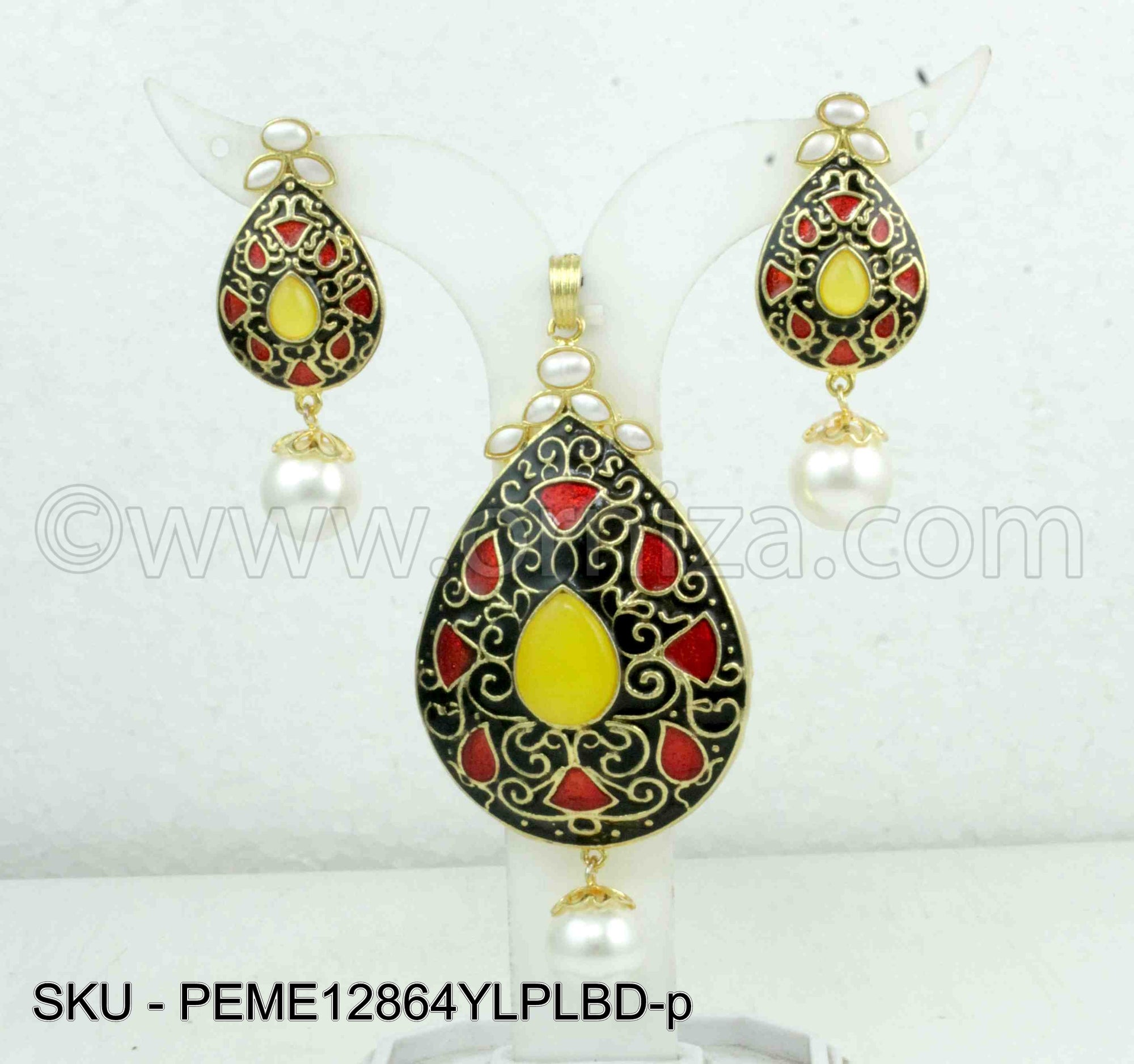 Yellow Meenakari Pendant Set