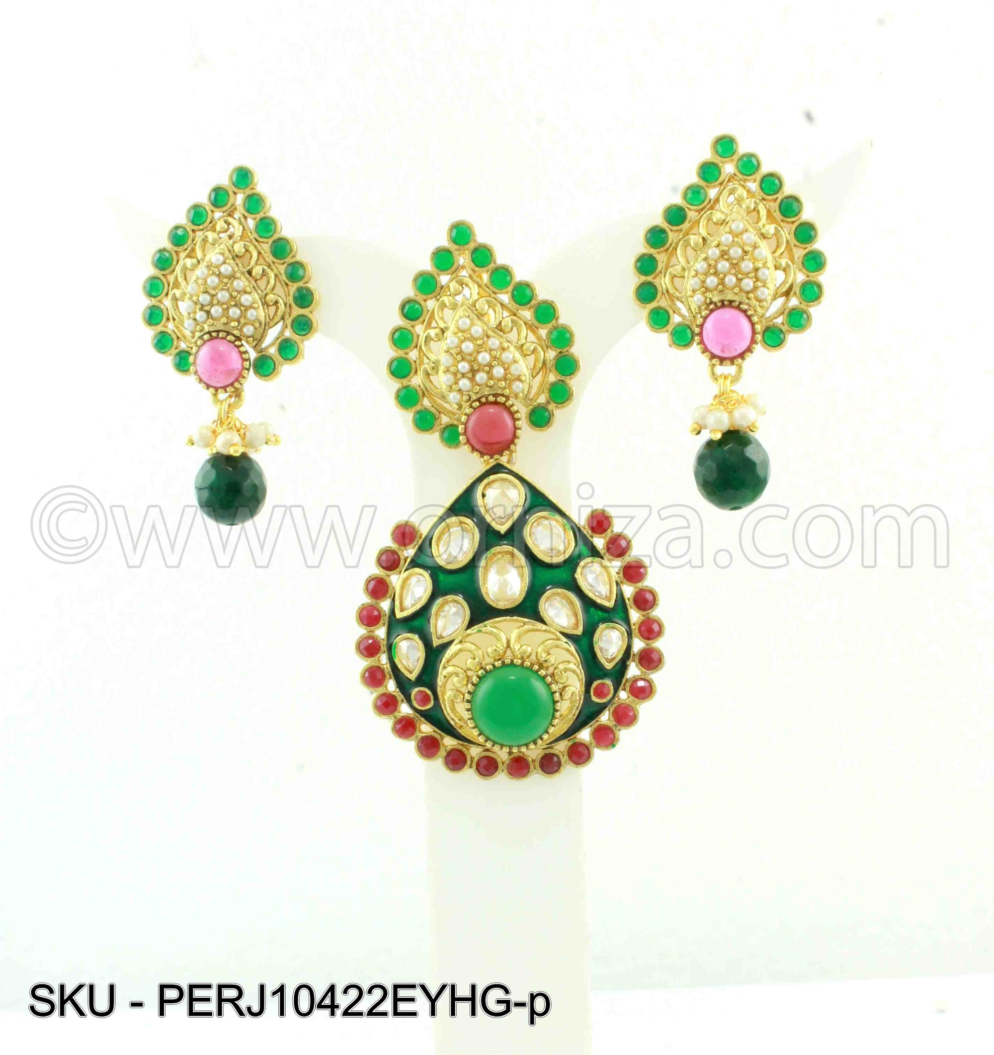 Red Green Traditional Rajwadi Pendant Set