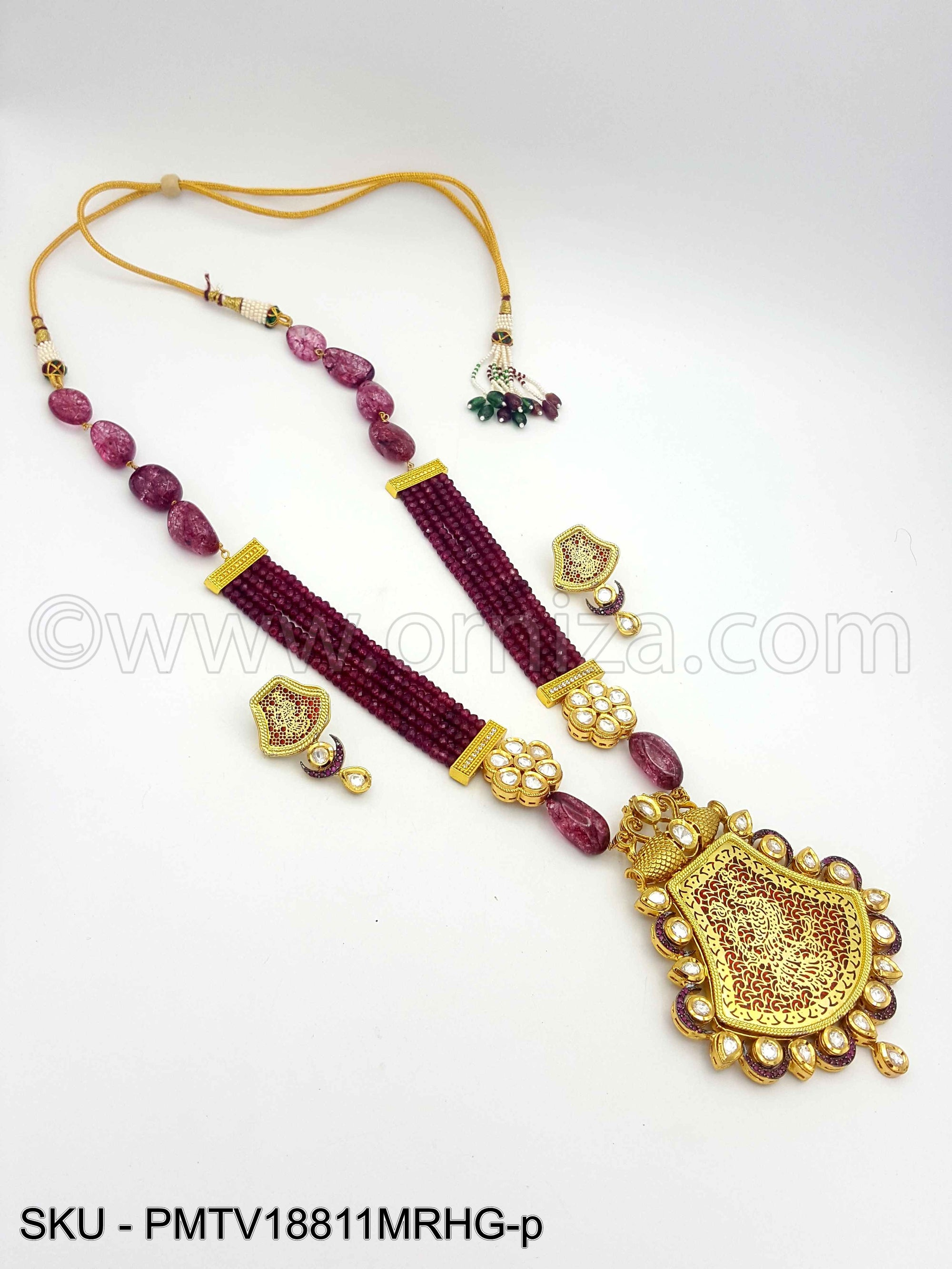 Maroon Red Theva Pendant Set