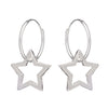 Open star hoop earring