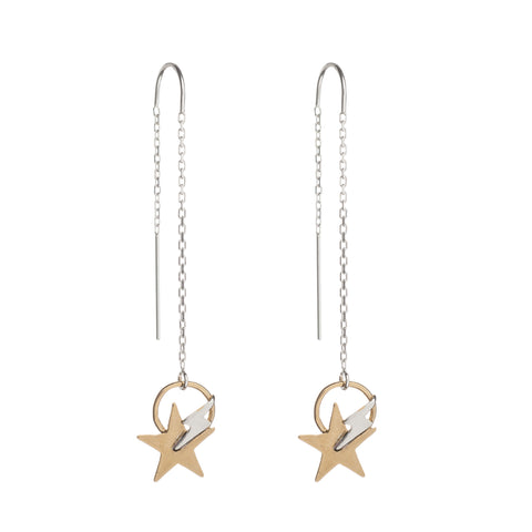 Star bolt drop earrings