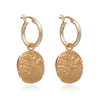 Roman coin hoop earrings