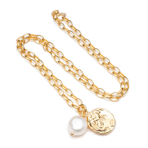 Pearl & Roman coin chunky chain necklace