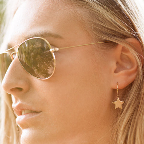 Large star hoop earrings