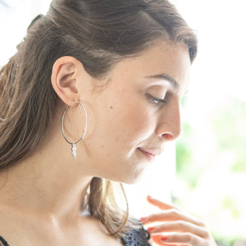 Large lightning bolt hoop earrings
