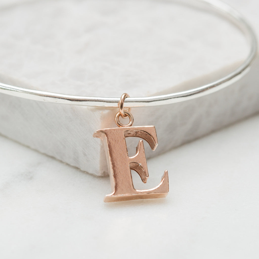 Personalised single alphabet charm bangle (all letters available)