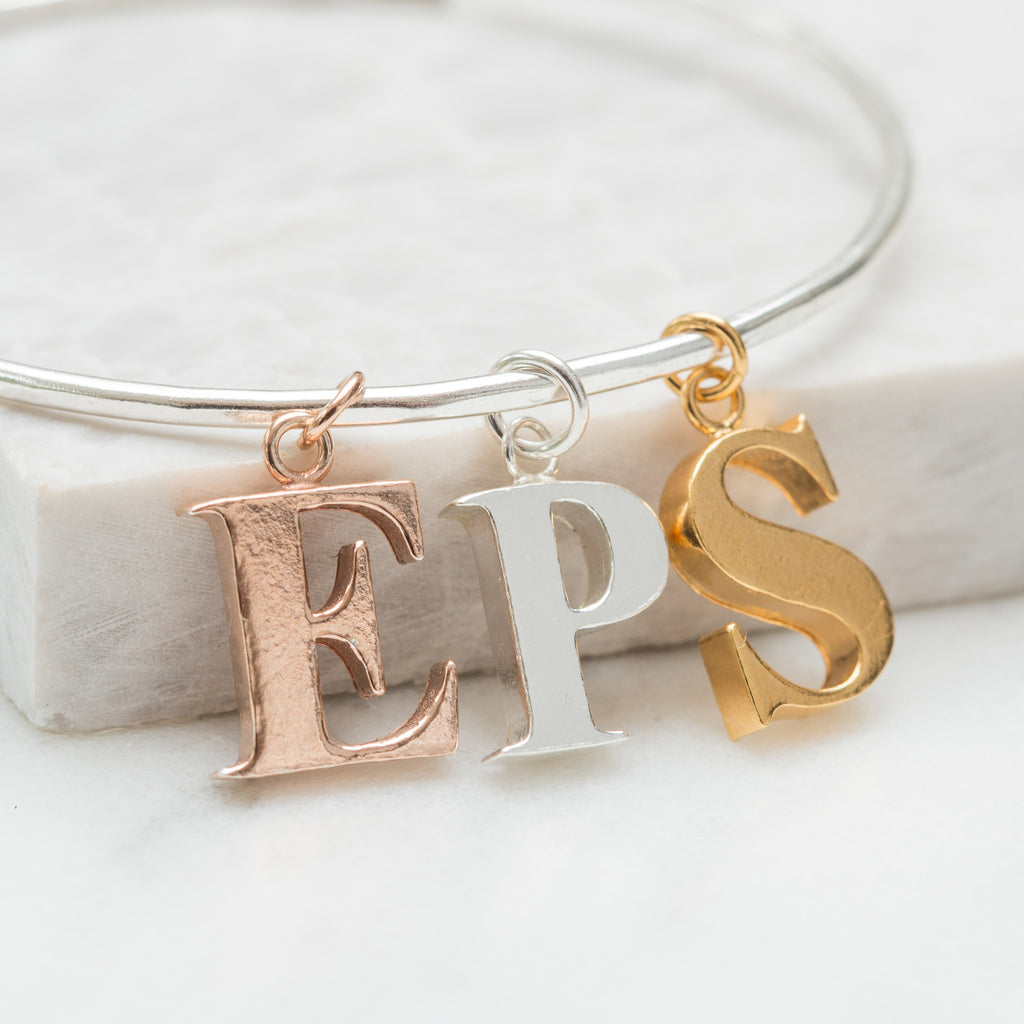 Personalised alphabet charms bangle (all letters available)