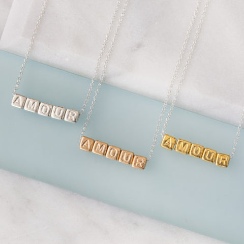 Amour cube necklace