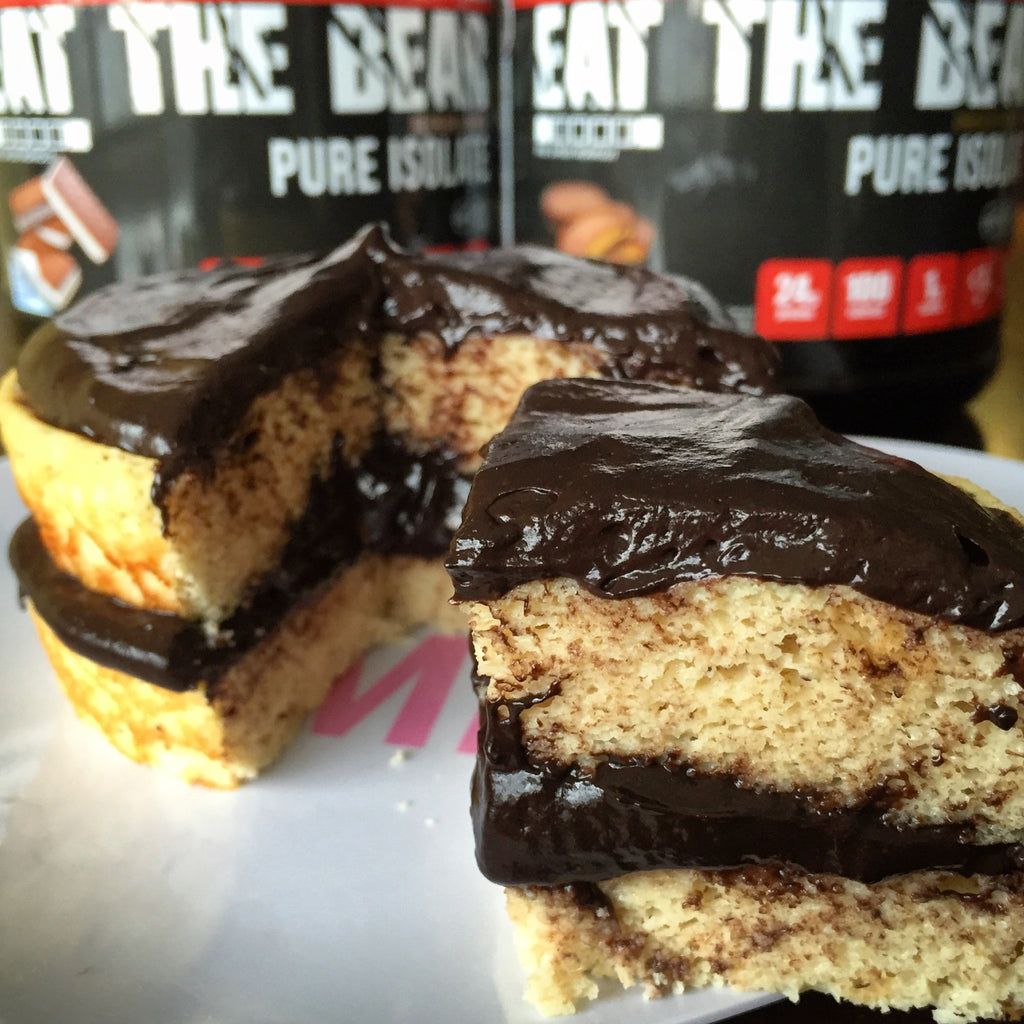 Chocolate Frosted Ice Cream Sandwich Protein Cake Recipe