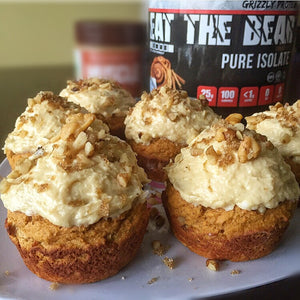 Cream Cheese Frosted Carrot Cake Protein Muffins