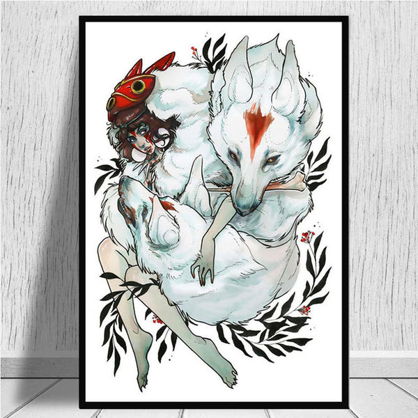 Home Decoration Prints Painting Wall Art Princess Mononoke Japan Anime Nordic Pictures Modular Canvas Poster Bedside Background
