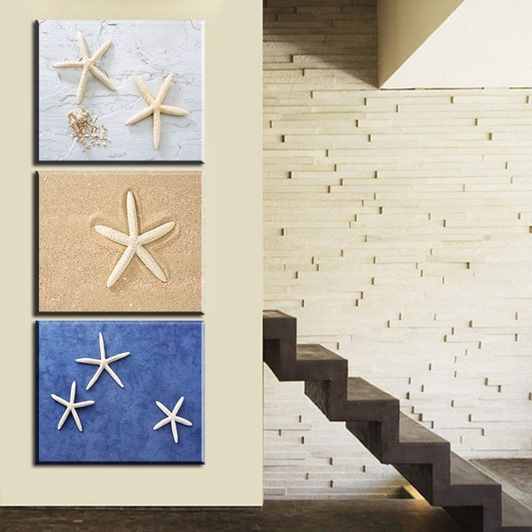 Free shipping 3 panels home decorative oil painting starfish and beach printed on canvas wall painting no frame canvas picture