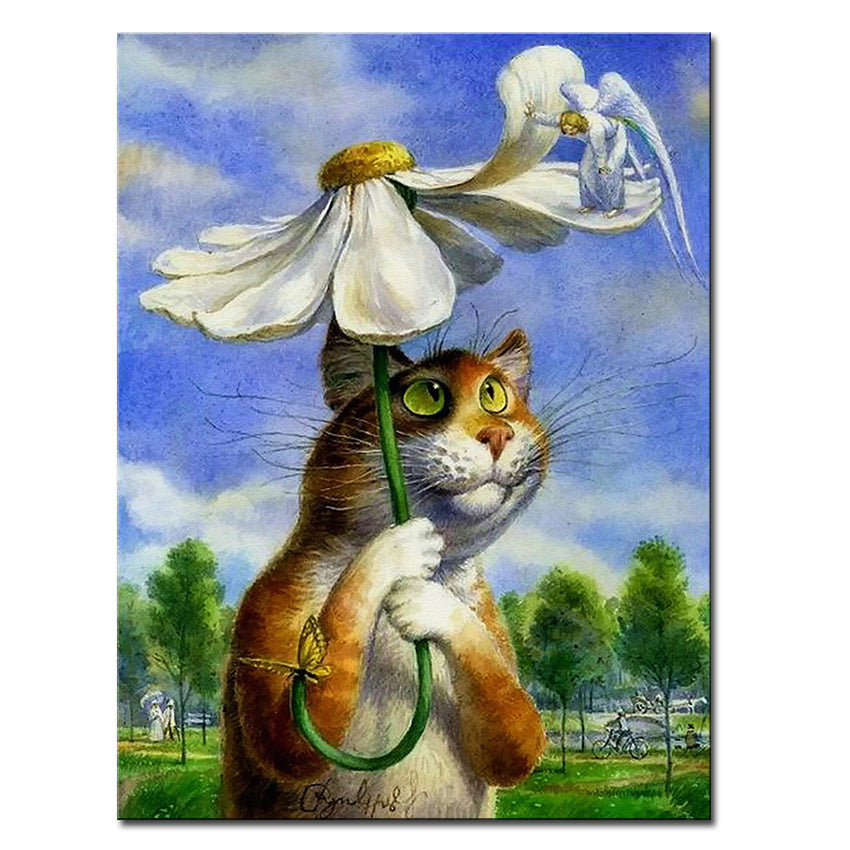 Vladimir Rumyantsev summer cat world oil painting wall Art Picture Paint on Canvas Prints wall painting no framed